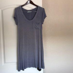 Distressed Blue Short Sleeve T-Shirt Dress
